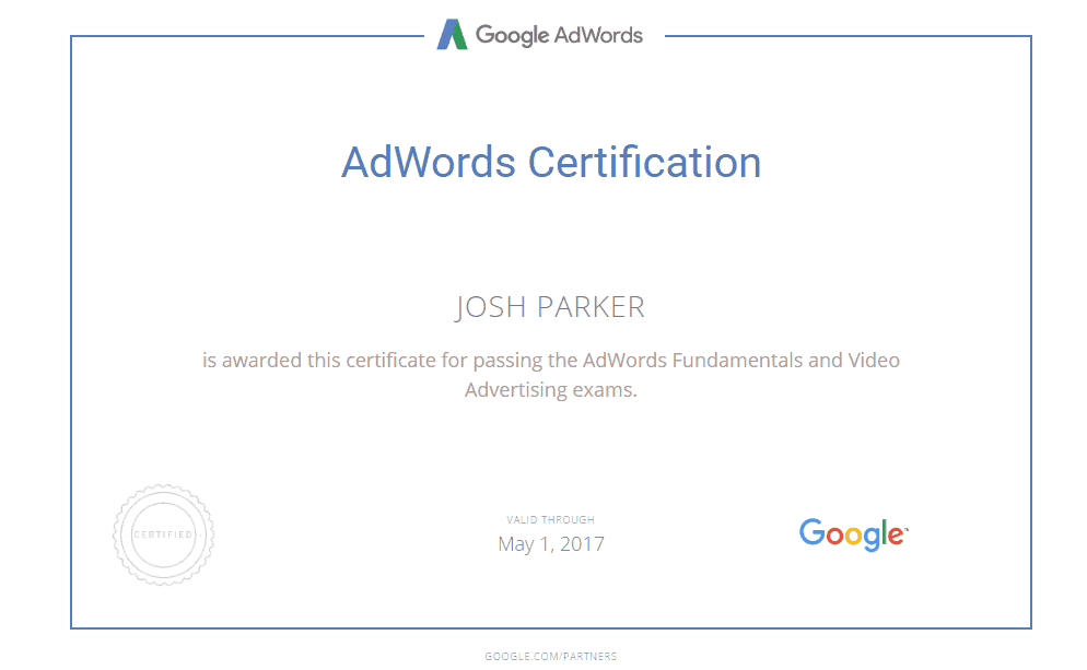 Video Adwords Certification