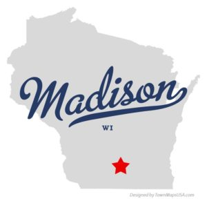 outline of state of wisconsin with madsion starred on the map