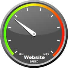 image of a speedometer indicating the speed of a website