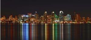 san diego skyline at night time