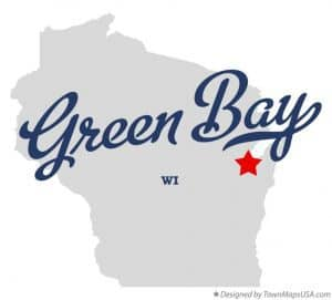 image of green bay wisconsin on a map